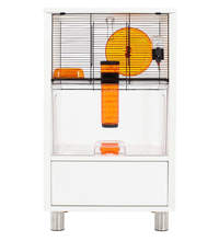 White Qute Gerbil and Hamster Cage with Storage