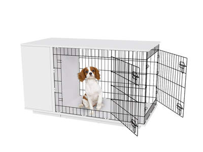 Fido Studio 36 Dog Crate with Wardrobe - White