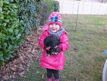 Hortense with her chicken Mauricette